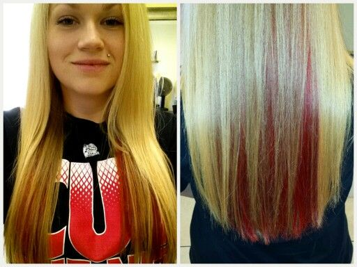 Blonde With Red Peekaboo Highlights Sexy Hair Styles