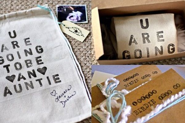 Stenciled Bags 15 Ideas For Creative Baby Announcements