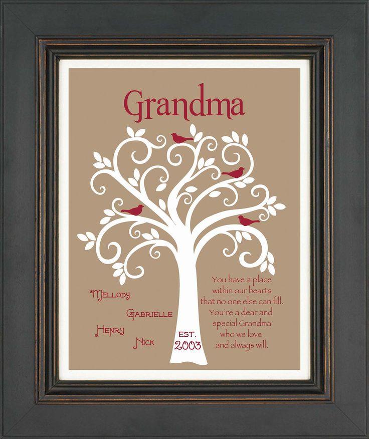 Grandma gift family tree 8x10 custom print