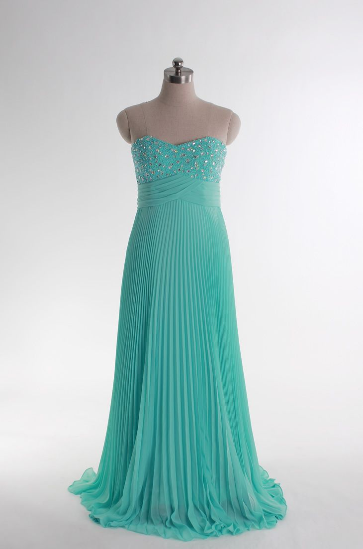 Sweetheart beading bodice chiffon gown