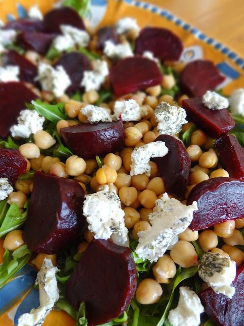 Roasted Beet Salad with Goat Cheese & Chickpeas