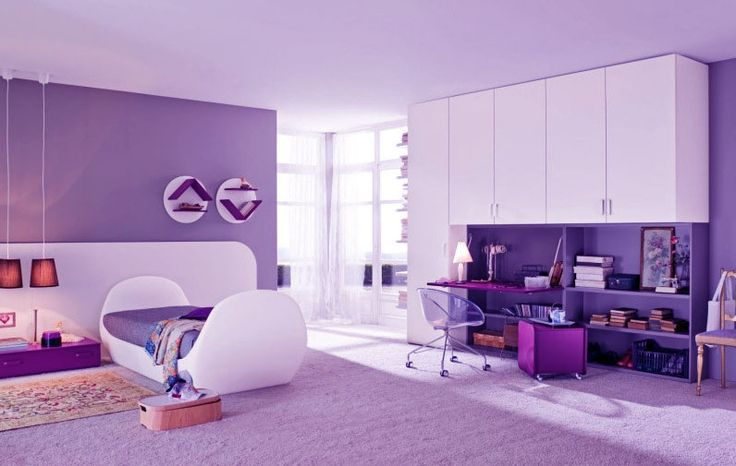 Painting Ideas For Kids Desk Beautiful Shining Purple Girls Bedroom With Modern Study Desk
