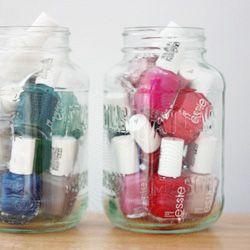 Use mason jars as a cute way to display and store your nail polish collection at