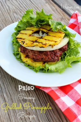 Paleo Smoky Grilled Pineapple Burgers. Love the idea of switching out bread for grilled pineapple!