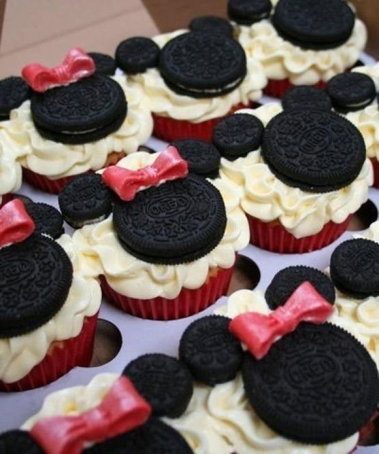 Minnie Mouse Cupcakes i am making for my cousins b-day party she is turning 2 and she loves mickey mouse clubhouse so i think it will be