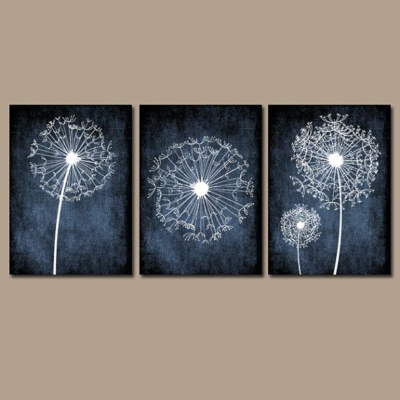 Dandelion Wall Art Flower Black White Chalkboard Custom Grunge Background Bedroom Pictures Canvas Or Prints Bathroom Set Of 3 Home Decor