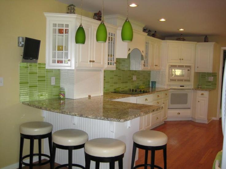 Awesome Lime Green Glass Tile Mosaic Kitchen Backsplash