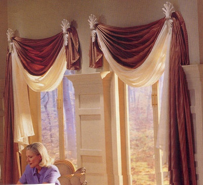 Self Swag Draperies With Decorative Sconces Home Ideas Pinterest Window Scarf