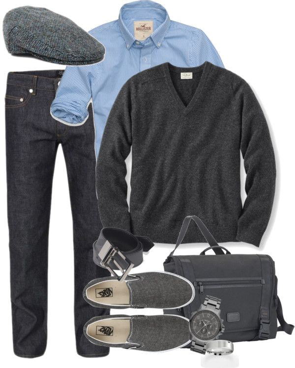 """""""gray and blue mens outfit"""" by meganpearl  liked on"""