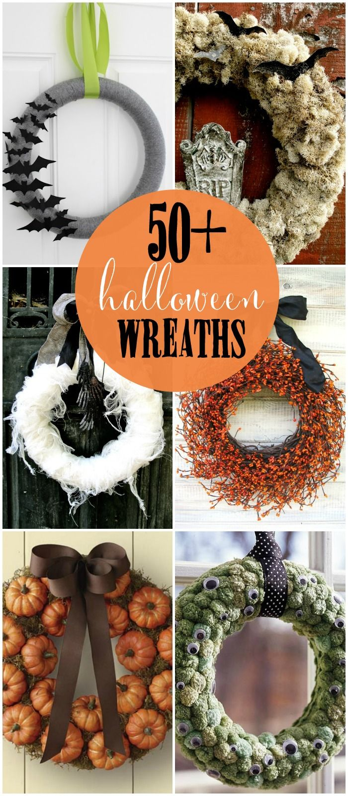 50+ DIY Halloween Wreaths – so many great ideas! { lilluna.com } #halloween