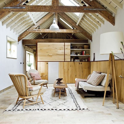 Living Room Exposed Rafters Attic Design Ideas Pictures