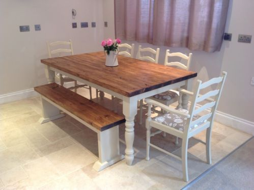 Shabby Chic Rustic Farmhouse Solid 8 Seater Dining Table Bench And 6 Oak Chairs Parents