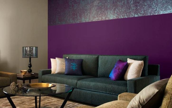 Beautiful Living Room With Purple Walls And Neutral Grey