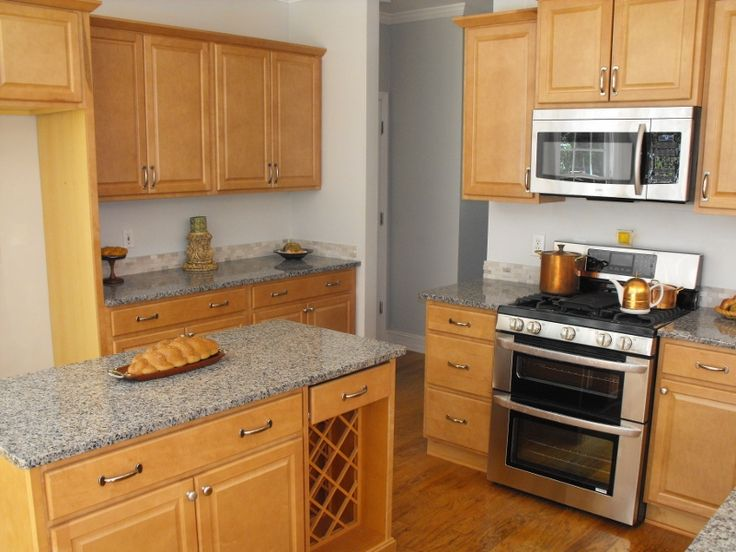 Kitchen maple granite countertops. Needs dark grey tile ... on Maple Cabinets With Black Countertops  id=28881