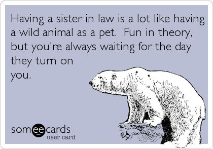 Having a sister in law is a lot like having a wild animal as a pet. Fun in theor