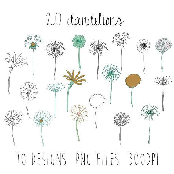 dandelions clipart : flower clipart / doodle clipart / hand sketched clipart / 10 design images / 20 pieces / spring clipart / png