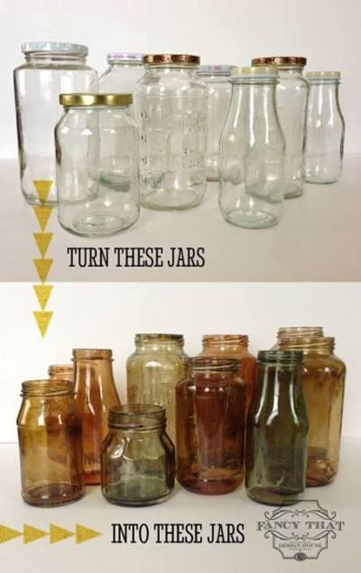 How to tint mason jars. Pick up some clear jars and tint them to coordinate with your kitchen! Fill them with cooking utensils, pens, flowers, whatever! Love