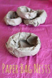 Paper Bag Bird Nest - easy add on for toddler bird crafts - Happy Hooligans