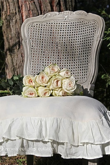 FRENCH COUNTRY COTTAGE DIY Beautiful Simple Double Ruffle Slipcover DIY French Country Decor