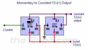 Momentary to Constant 12v() Output Relay Diagram | 12 v