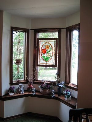 Bay Window Idea Love The Stained Glass Hung From Curtain Rod Hanging Stained Glass Panels
