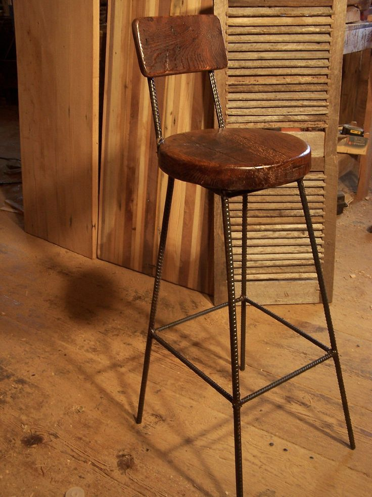 Reclaimed Oak Bar Stools With Metal Legs And Back Rest
