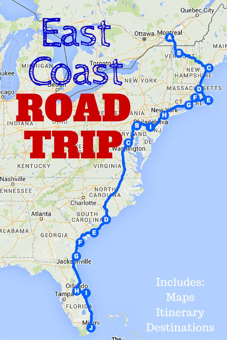 The Best Ever East Coast Road Trip Itinerary! This post includes a guide to the must-visit destinations along the East Coast,