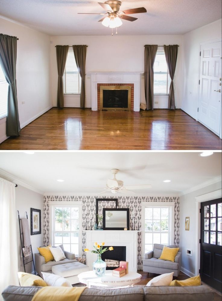 New Living Room With Interesting Wallpaper Magnolia Homes Joanna Gaines Pinterest
