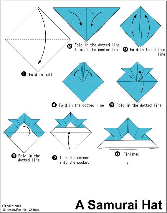 paper origami hat   Tutorial Origami Handmade
