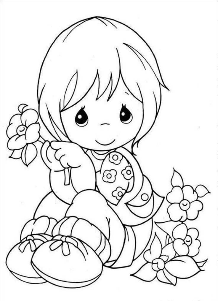 Little Girl holding a flower | Coloring pages | Pinterest ... | free coloring pages for girls-flowers