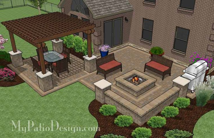 Large Backyard Patio Design with Pergola, Built-In Fire ... on Square Backyard Design Ideas id=89389