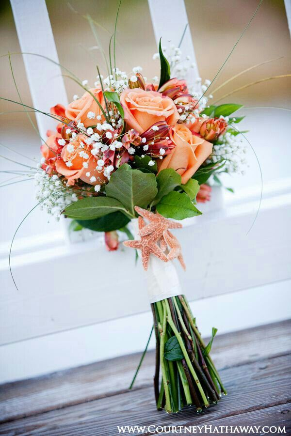 Beach Themed Wedding Posy CoralOrange Roses Orange