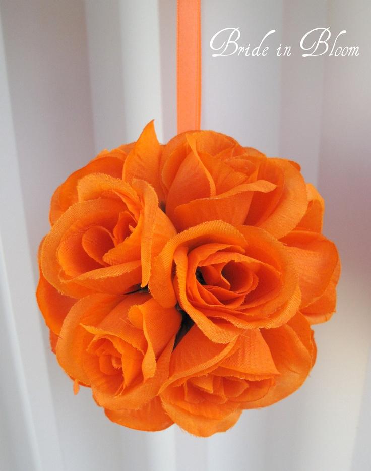 Orange wedding flower ball decorations – SALE – Flower girl pomander kissing
