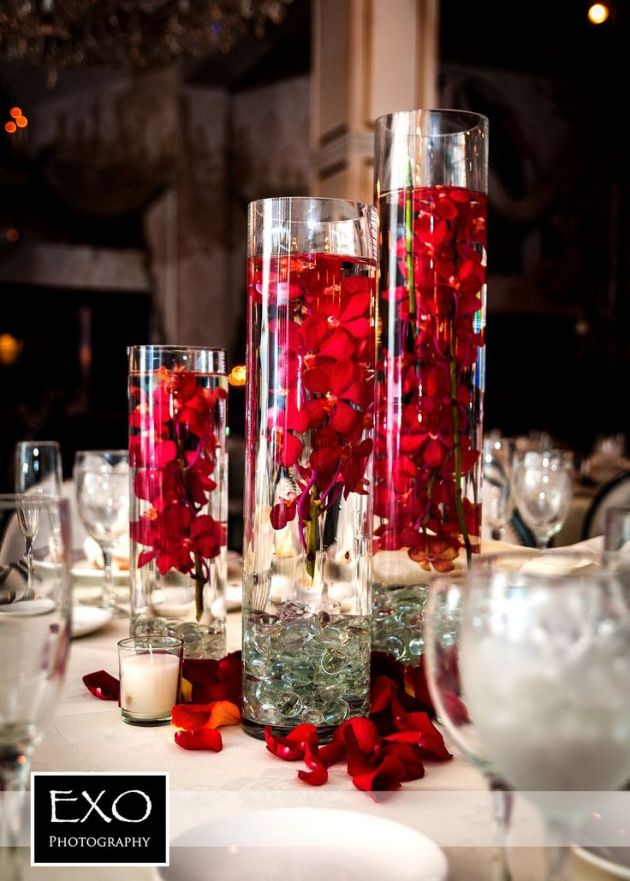 centerpieces, red centerpieces, wedding centerpieces, rose flowers, flower centerpiece, flowers: