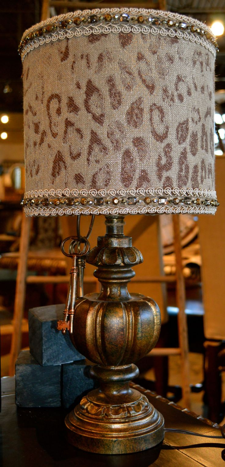 Exotic Cheetah Print Always Goes With Everything Bejeweled Animal Print Lamp Shade On A Bronze