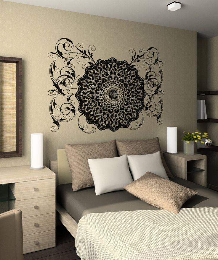 vinyl wall decal sticker arabic flower circle design on wall stickers id=94918