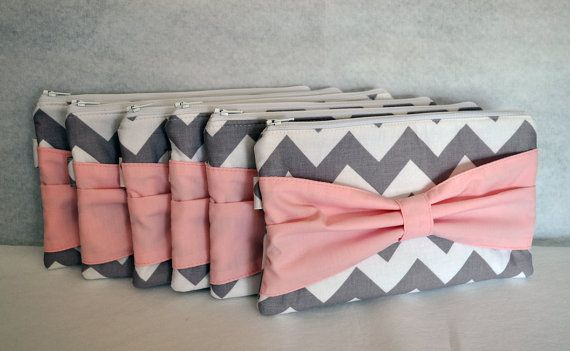 Bridesmaid Gift Set of 6 Chevron Bow Clutch Choose your colors Bridesmaids Gifts