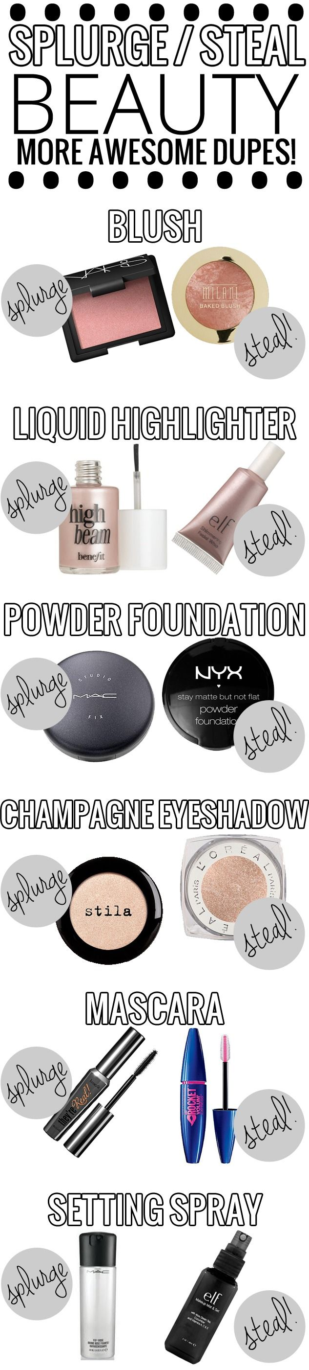 Splurge vs. Steal Beauty – AWESOME list of drugstore dupes for high end makeup!