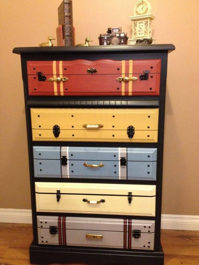 Another faux suitcase painted chest of drawers love it