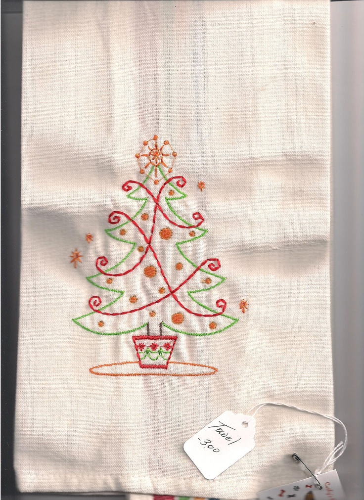 17 Best Images About Tea Towel Embroidery On Pinterest