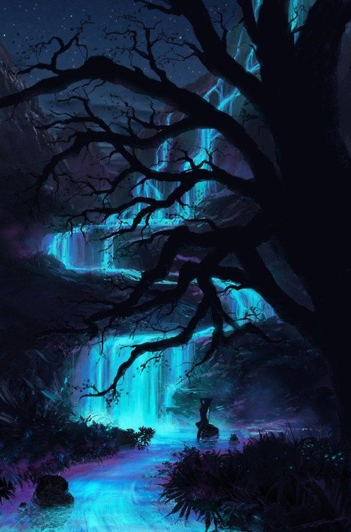 Faerie Falls  Lost within the neon mists, an ethereal world shimmers and glistens for but a moment as you realize… there is