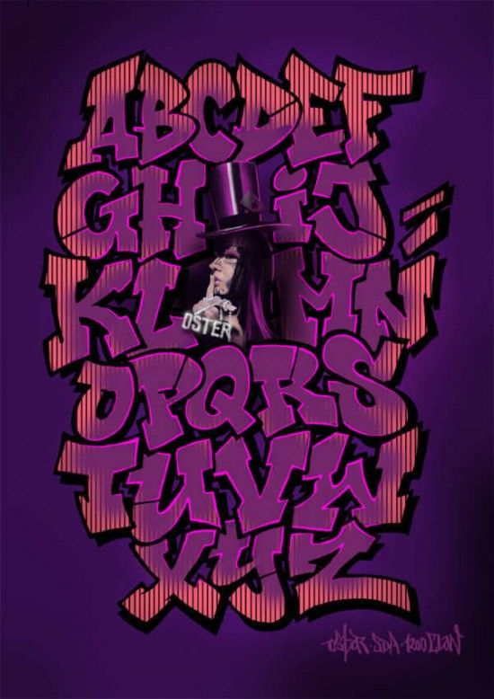 Purple Fonta ABC Bombing Purple Graffiti Alphabet A Z By