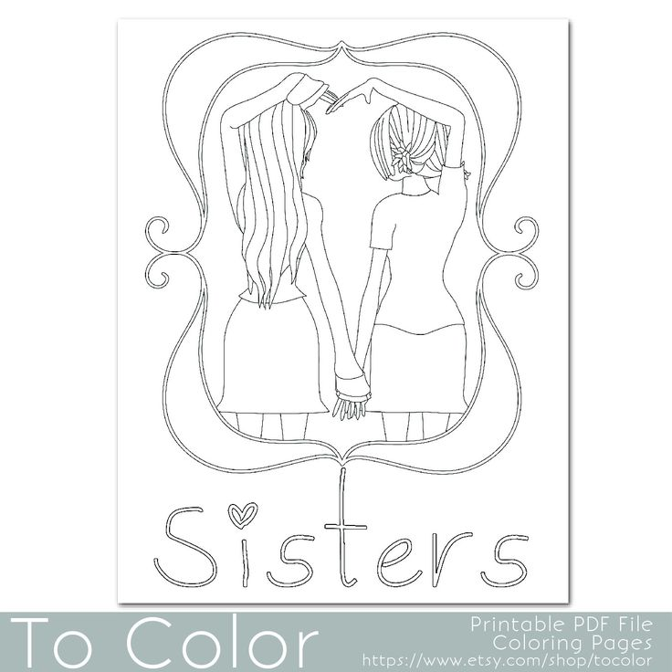 this coloring page features two girls holding hands to
