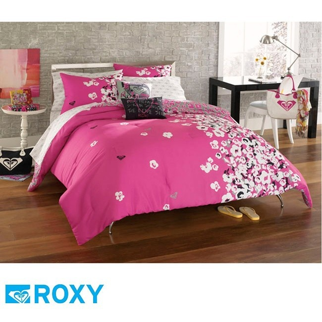 9pc Roxy Muse S Hot Pink Gray Black Surf Comforter Set Bed In Bag Full
