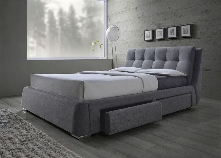 Grey Fabric Platform Bed With Storage Drawers Shops
