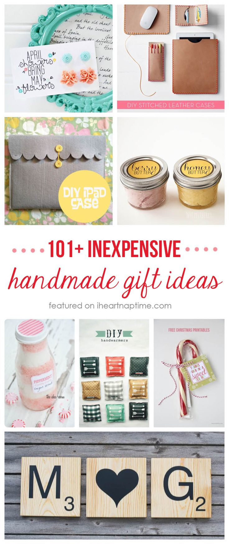 101+ inexpensive handmade Christmas gifts …so many great ideas that would be easy to make!