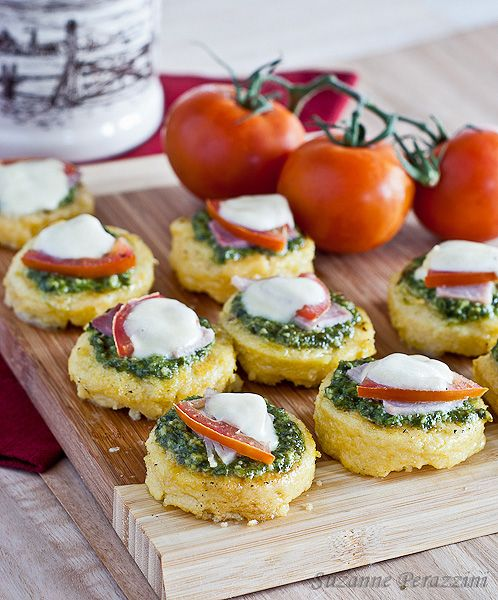 Pesto, Mozzarella Polenta Appetizers by Strands of my Life