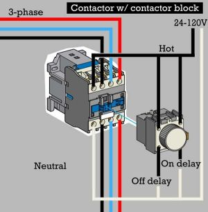 How to wire contactor block delay timer http