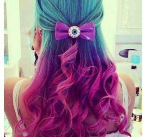 blue purple and pink hair make up and nails artsy style and casual pinterest you are