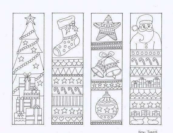 Christmas Coloring Bookmarks Instant PDF Download